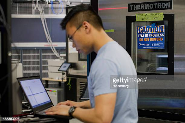 Dominic Cheng a power test engineer at Facebook Inc tests servers at the company's hardware labs in Menlo Park California US on Monday April 7 2014...