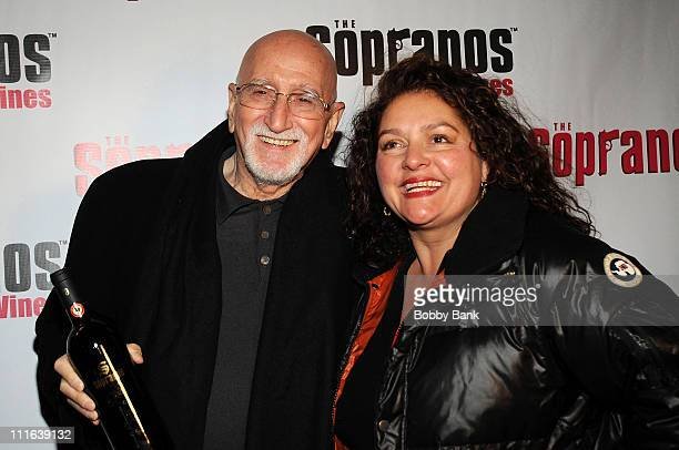Dominic Chianese and Aida Turturro attend the launch of Sopranos Wines at the World Bar at Trump World Tower on November 18 2008 in New York City