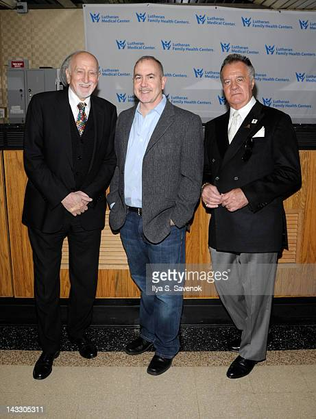 Dominic Chianese Terence Winter and Tony Sirico visit Lutheran Medical Center on April 23 2012 in the Brooklyn borough of New York City