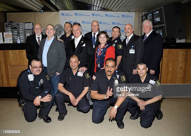 Dominic Chianese Terence Winter Tony Sirico and Lutheran HealthCare President and CEO Wendy Z Goldstein visit Lutheran Medical Center on April 23...