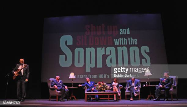 Dominic Chianese Tony Sirico Lorraine Bracco Vincent Curatola and Johnny Ventimiglia attend the Shut Up Sit Down With The Sopranos at Molloy College...
