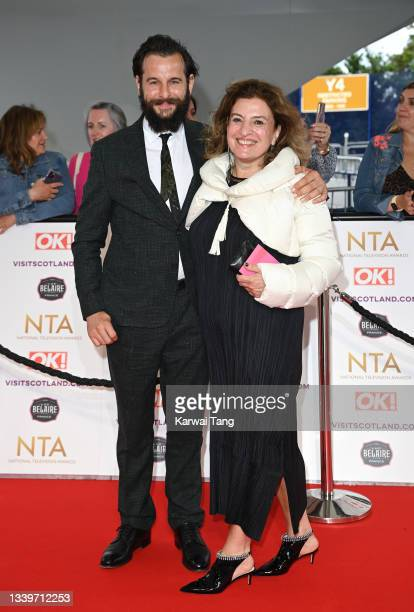 Dominic Chinea and Lucia Scalisi attend the National Television Awards 2021 at The O2 Arena on September 09, 2021 in London, England.