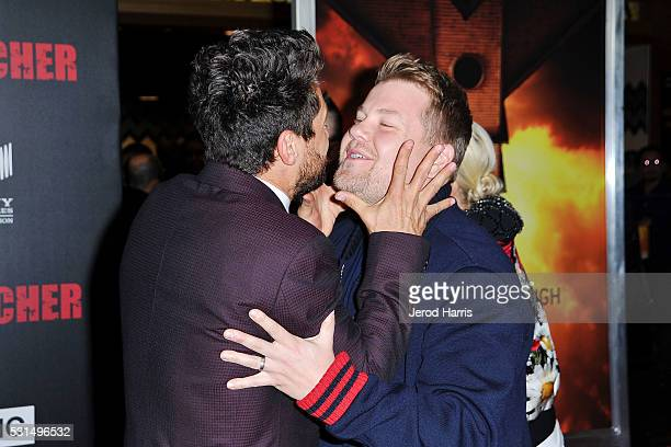 Dominic Cooper and James Corden attend the premiere of AMC's 'Preacher' at Regal LA Live Stadium 14 on May 14 2016 in Los Angeles California