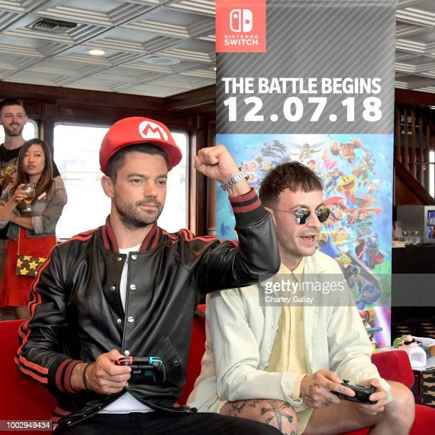 Dominic Cooper and Joe Gilgun test their skills on Super Smash Bros Ultimate for Nintendo Switch at the Variety Studio at ComicCon 2018 on July 20...
