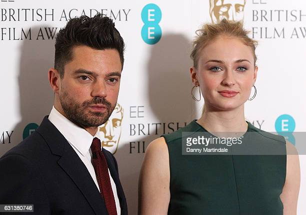 Dominic Cooper and Sophie Turner attend as the nominations for the EE British Academy Film Awards are announced on January 10 2017 in London United...
