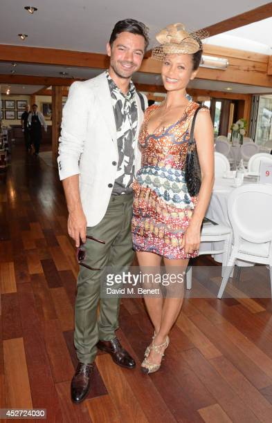 Dominic Cooper and Thandie Newton attend Audi International at Guards Polo Club near Windsor to support England as it faces Argentina for the...