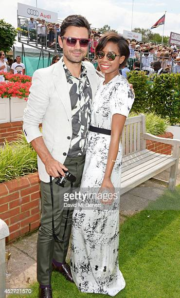 Dominic Cooper and Tolula Adeyemi attend Audi International at Guards Polo Club near Windsor to support England as it faces Argentina for the...
