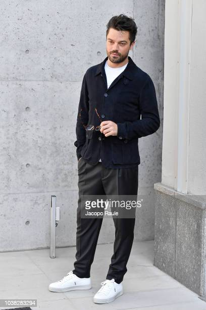 Dominic Cooper arrives at the Giorgio Armani show during Milan Fashion Week Spring/Summer 2019 on September 23 2018 in Milan Italy