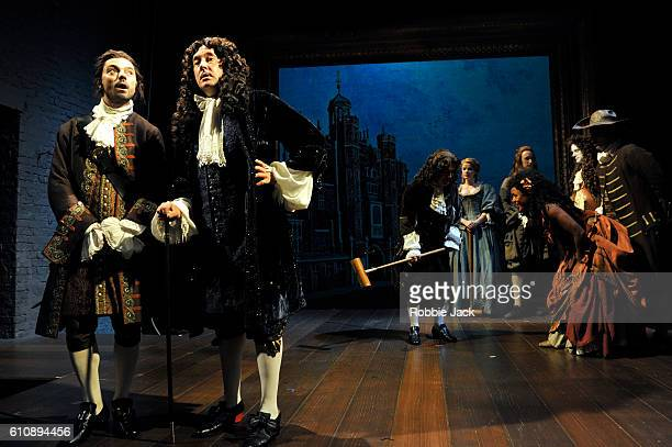Dominic Cooper as the Earl of Rochester and Jasper Britton as King Charles II with artists of the company in Stephen Jeffreys' The Libertine directed...