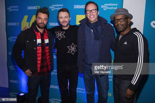 Dominic Cooper Chris Hardwick AMC President and GM Charlie Collier and Lennie James attends the 2018 Sundance Film Festival Official Kickoff Party...