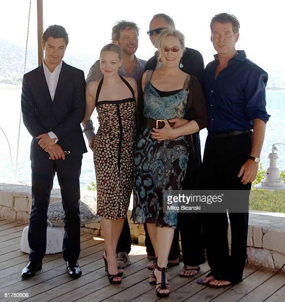 Dominic Cooper Colin Firth Amanda Seyfried Stellan Skarsgard Meryl Streep and Pierce Brosnan attend a photocall for the movie 'Mamma Mia' at the...