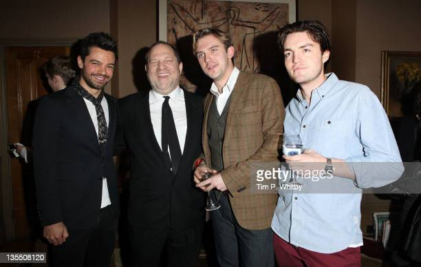 Dominic Cooper Harvey Weinstein Dan Stephen and Tom Burke attend a VIP Screening of The Artist at Charlotte Street Hotel on December 11 2011 in...