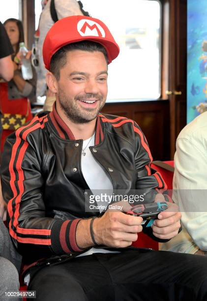 Dominic Cooper puts his gaming skills to the test playing Mario Kart 8 Deluxe on Nintendo Switch at the Variety Studio at ComicCon 2018 on July 20...