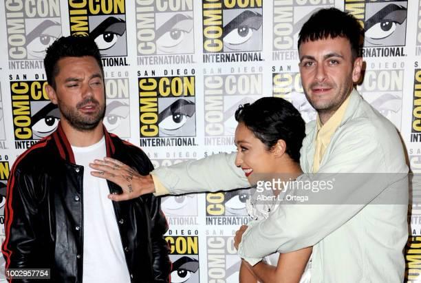 "Dominic Cooper, Ruth Negga and Joe Gilgun at AMC's ""Preacher"" panel during Comic-Con International 2018 at San Diego Convention Center on July 20,..."