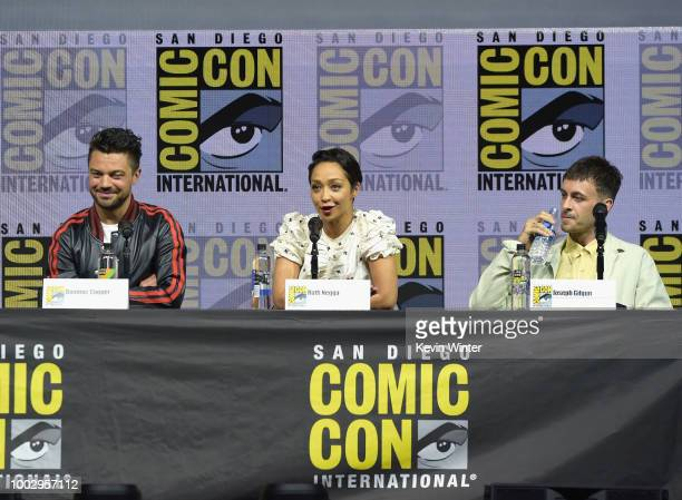 Sam Catlin and Seth Rogen speak onstage at AMC's 'Preacher' panel during ComicCon International 2018 at San Diego Convention Center on July 20 2018...