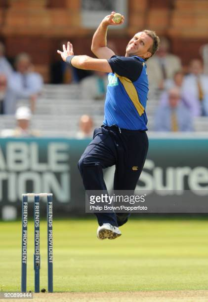 Dominic Cork bowling for Hampshire during the Friends Provident Trophy Final between Hampshire and Sussex at Lord's Cricket Ground London 25th July...