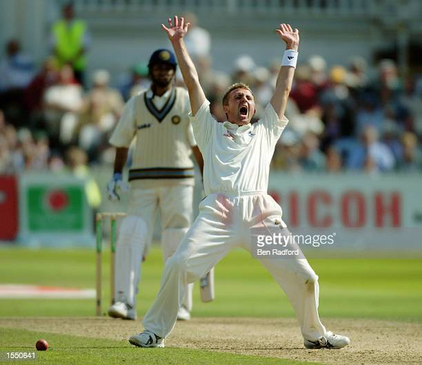 Dominic Cork of England appeals for a wicket during the fifth day of the NPower Second Test match between England and India on August 12 2002 played...