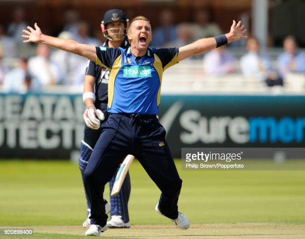 Dominic Cork of Hampshire appeals unsuccessfully for the wicket of Sussex batsman Matt Prior during the Friends Provident Trophy Final between...