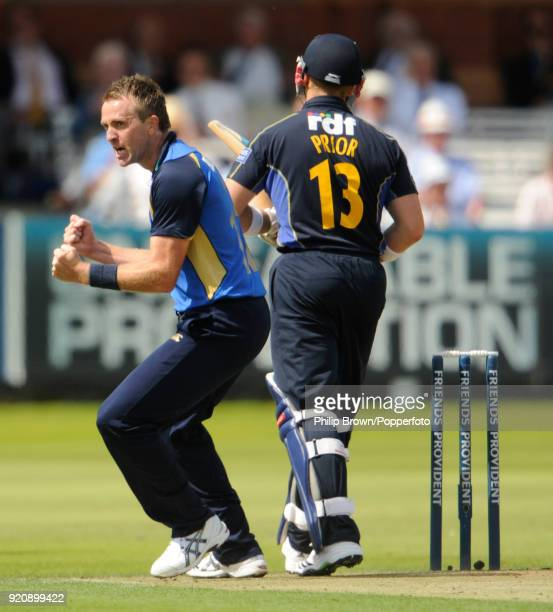 Dominic Cork of Hampshire celebrates the wicket of Sussex batsman Matt Prior during the Friends Provident Trophy Final between Hampshire and Sussex...