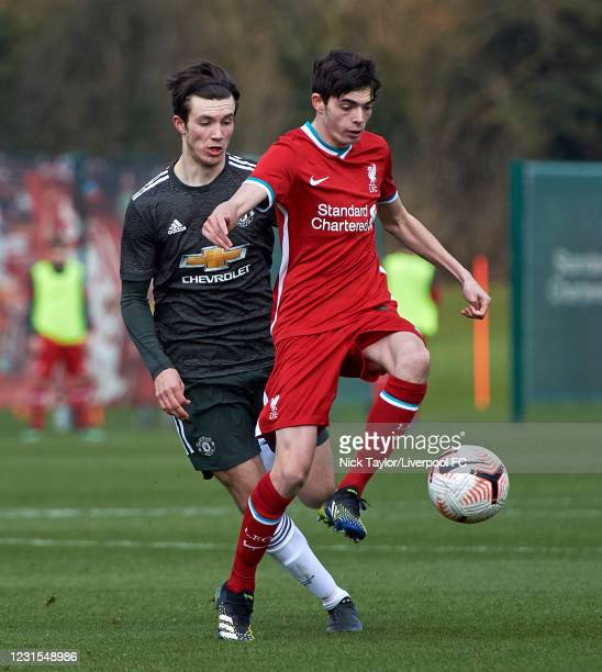 Dominic Corness of Liverpool and Charlie McNeill of Manchester United in action during the U18 Premier League game between Liverpool and Manchester...