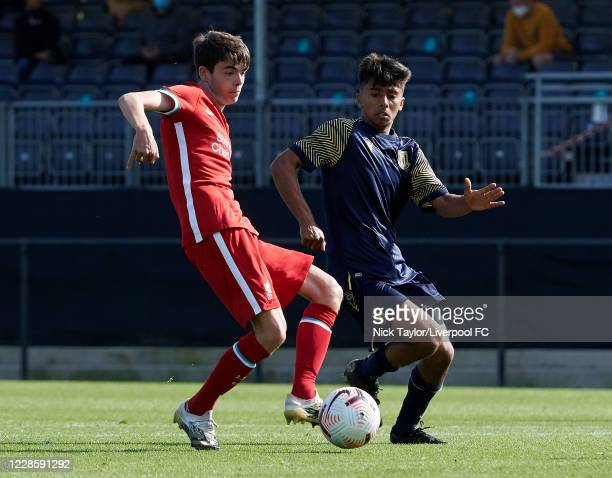 Dominic Corness of Liverpool and Jai Verma of Stoke City in action during the U18 Premier League game at The Kirkby Academy on September 19 2020 in...