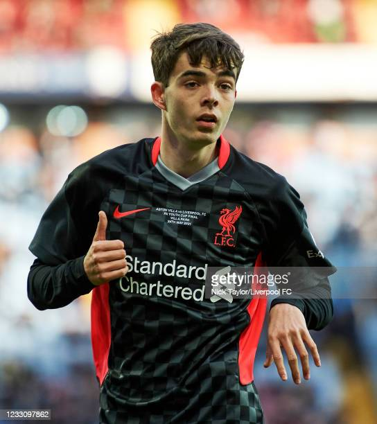 Dominic Corness of Liverpool in action during the FA Youth Cup Final between Aston Villa U18 and Liverpool U18, at Villa Park on May 24, 2021 in...