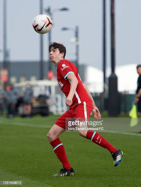 Dominic Corness of Liverpool in action during the U18 Premier League game between Liverpool and Manchester United at AXA Training Centre on March 6,...