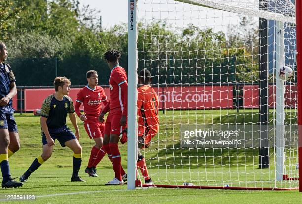 Dominic Corness of Liverpool scores Liverpool's third goal directly from a corner kick as Paul Cooper in the Stoke City goal misses the ball during...