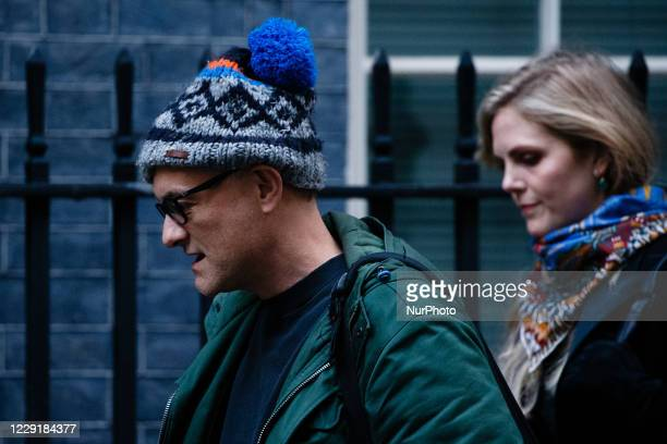 Dominic Cummings Chief Adviser to British Prime Minister Boris Johnson and Special Adviser Cleo Watson arrive on Downing Street ahead of the weekly...