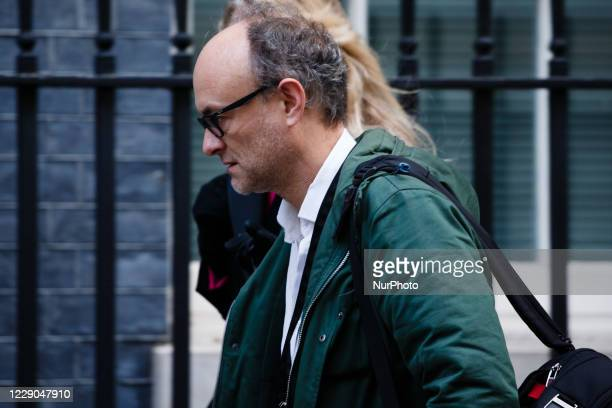 Dominic Cummings Chief Adviser to Prime Minister Boris Johnson walks along Downing Street in London England on October 13 2020