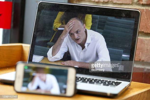 Dominic Cummings, former special adviser to U.K. Prime Minister Boris Johnson, gives evidence during a live steam of a parliamentary committee...