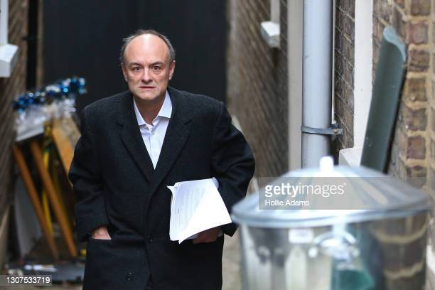 Dominic Cummings leaves his home on March 17, 2021 in London, England. Former Chief Advisor to the Prime Minister, Dominic Cummings, appears at the...