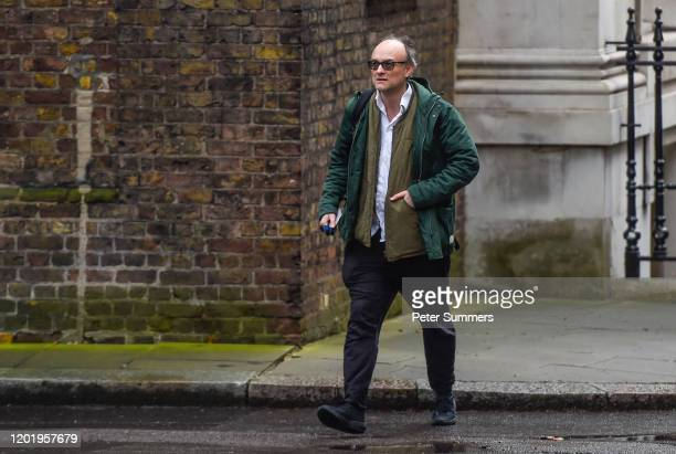 Dominic Cummings Special Adviser to Britain's Prime Minister Boris Johnson arrives in Downing Street on February 20 2020 in London England Mr...