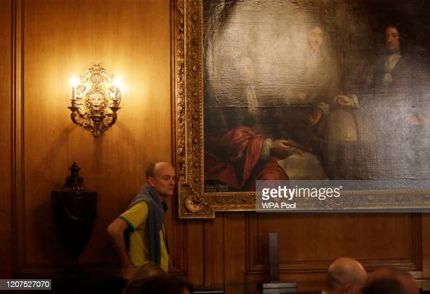 Dominic Cummings special adviser to British Prime Minister Boris Johnson looks on during Johnson's press conference about the ongoing situation with...