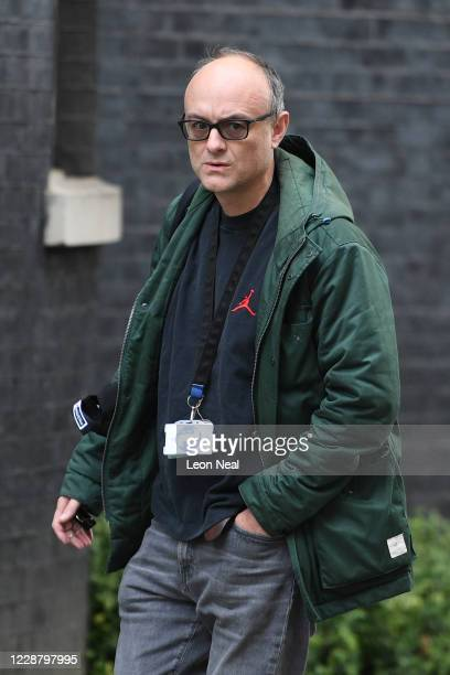Dominic Cummings special adviser to UK Prime Minister Boris Johnson arrives in Downing Street on September 30 2020 in London England
