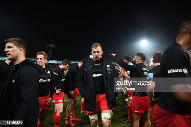 Dominic Day of Saracens makes his way off after defeat to Gloucester during the Gallagher Premiership Rugby match between Gloucester Rugby and...