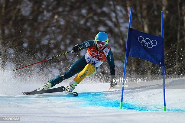 Dominic Demschar of Australia in action during the Alpine Skiing Men's Giant Slalom on day 12 of the Sochi 2014 Winter Olympics at Rosa Khutor Alpine...