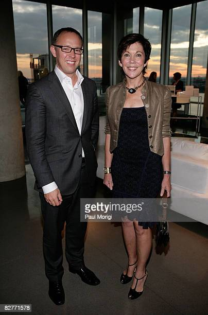 Dominic DeVetta and President of Le Mer Maureen Case attend Le Mer Celebrates Liquid Light By Fabien Baron at The Glass House on September 10 2008 in...