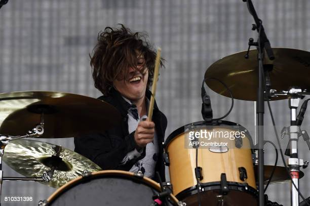 Dominic 'Dot' Major of London Grammar performs on the main Stage at the TRNSMT music Festival on Glasgow Green in Glasgow on July 7 2017 PHOTO / Andy...