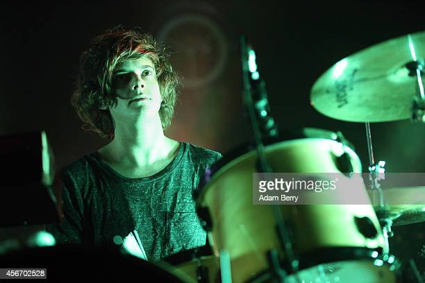 Dominic 'Dot' Major of the British electronic pop trio London Grammar performs during a concert at Columbiahalle on October 5 2014 in Berlin Germany