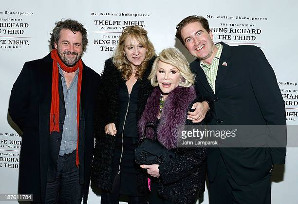 Dominic Dromgoole Sonia Friedman Joan Rivers and Neil Constable attend the Broadway opening night production of Twelfth Night Richard III at Belasco...