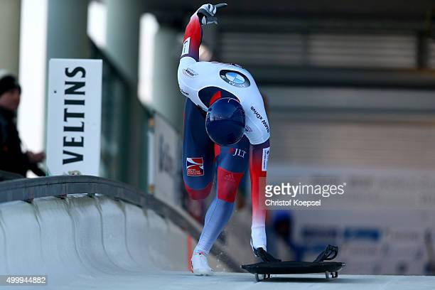 Dominic Edward Parsons competes in his first run of the men's skeleton competition during the BMW IBSF Bob & Skeleton Worldcup at Veltins Eis-Arena...