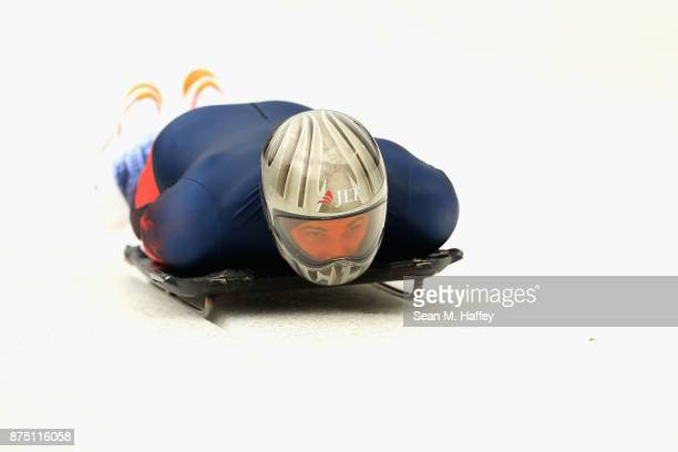 Dominic Edward Parsons of Great Britain takes a training run in the Men's Skeleton during the BMW IBSF Bobsleigh + Skeleton World Cup at Utah Olympic...