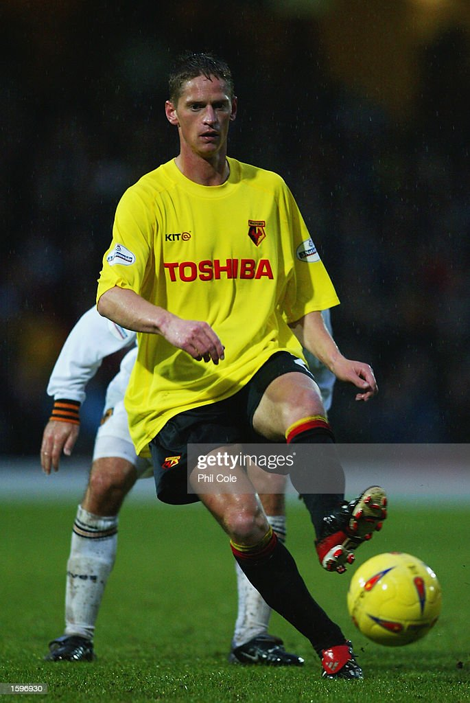 Dominic Foley of Watford lays the ball off during the Nationwide League Division One match between Watford and Wolverhampton Wanderers held on November 2, 2002 at Vicarage Road in Watford, England. The match ended in a 1-1 draw. DIGITAL