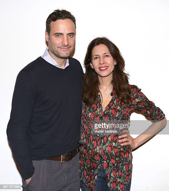 Dominic Fumusa and Jessica Hecht attend the 'Stage Kiss' cast fan meet and greet at Playwrights Horizons on January 10 2014 in New York City