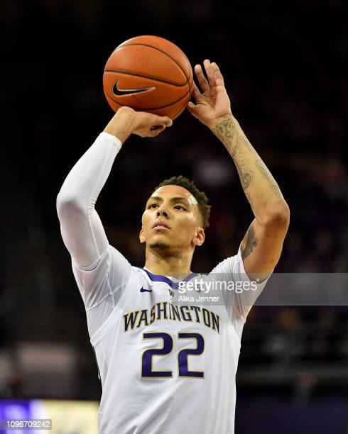 Dominic Green of the Washington Huskies shoots a free throw against the California Golden Bears at Hec Edmundson Pavilion on January 19 2019 in...