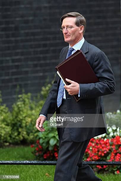 Dominic Grieve the Attorney General arrives in Downing Street on August 28 2013 in London England Prime Minister David Cameron is due to Chair a...