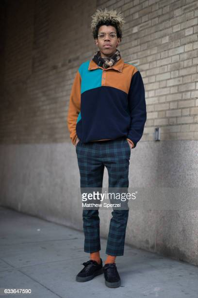 Dominic Griffin is seen attending Stampd/Willy Chavarria/Orley while wearing Topman pants Puma creepers and Supreme NY shirt on February 2 2017 in...