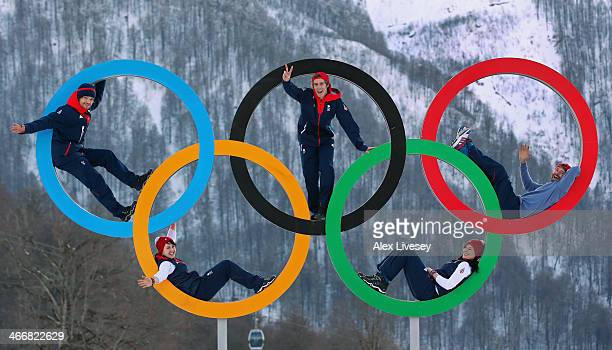 Dominic Harrington Ben Kilner and Billy Morgan of the Great Britain Snowboard Team pose for a portrait with Rebekah Wilson and Paula Walker of the...