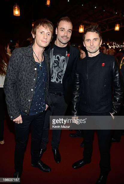 Dominic Howard Chris Wolstenholme and Matthew Bellamy of Muse attend the MTV EMA's 2012 at Festhalle Frankfurt on November 11 2012 in Frankfurt am...